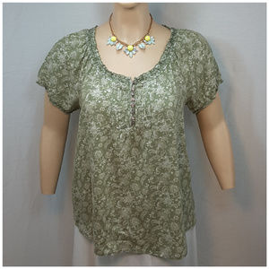 Tops - *PLUS* Embroidery Pintucks Floral Pattern Top, 2X